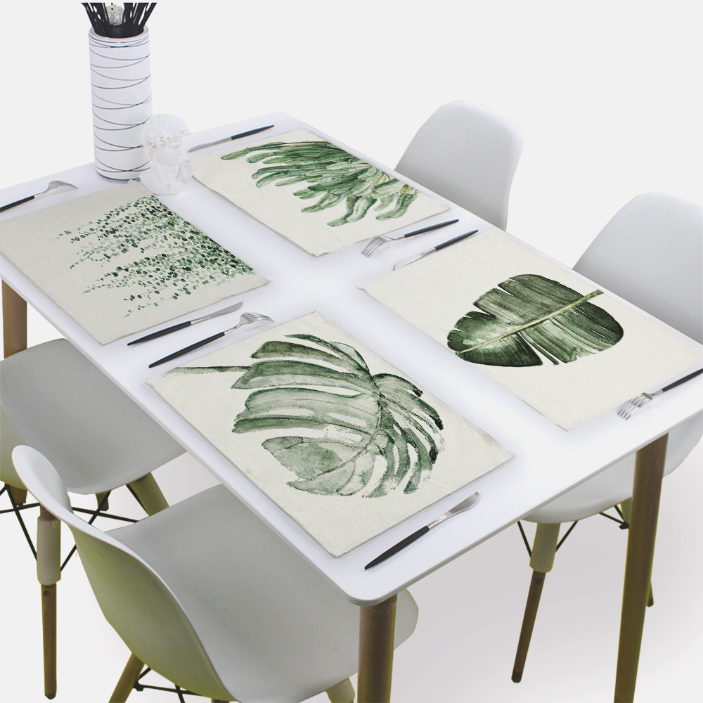 Green Leaf Decoration Table Mats Cloth Napkin Wedding 43*32Cm Table Napkins Banana Leaf Linen Print Serviette Home Table Napkin