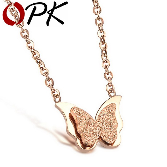 OPK JEWELRY Stainless Steel Dull Polish Butterfly Necklace Rose Gold