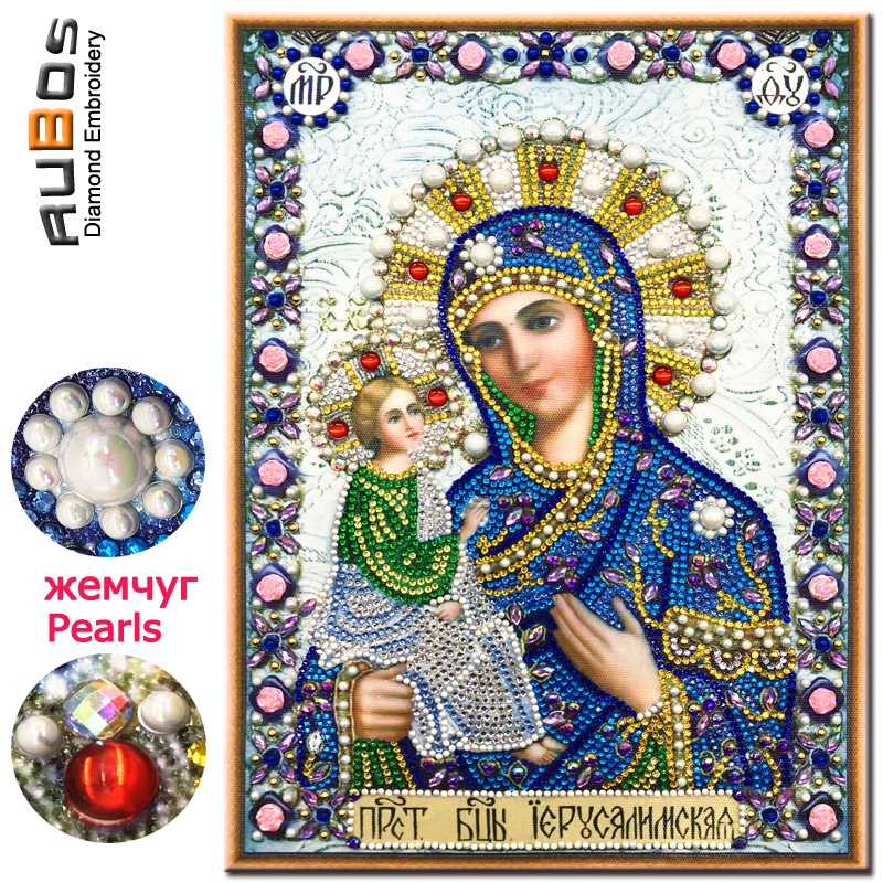 RUBOS Diamond Embroidery Glass-Mosaic Jerusalem Icons Crystal-Sale Pearls Religion 5D