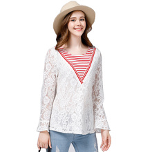New autumn large size 5xl women blouse shirt wild leaf sleeves lace stitching plus size loose shirts blouses tops womens ZB1461