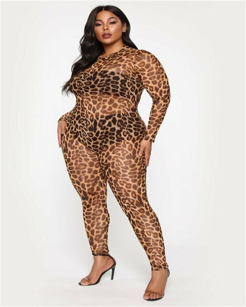 Womens Mesh Sheer Transparent   Jumpsuit   Ladies Leopard Out Party Clubwear Playsuit overalls Combinaison Femme 710