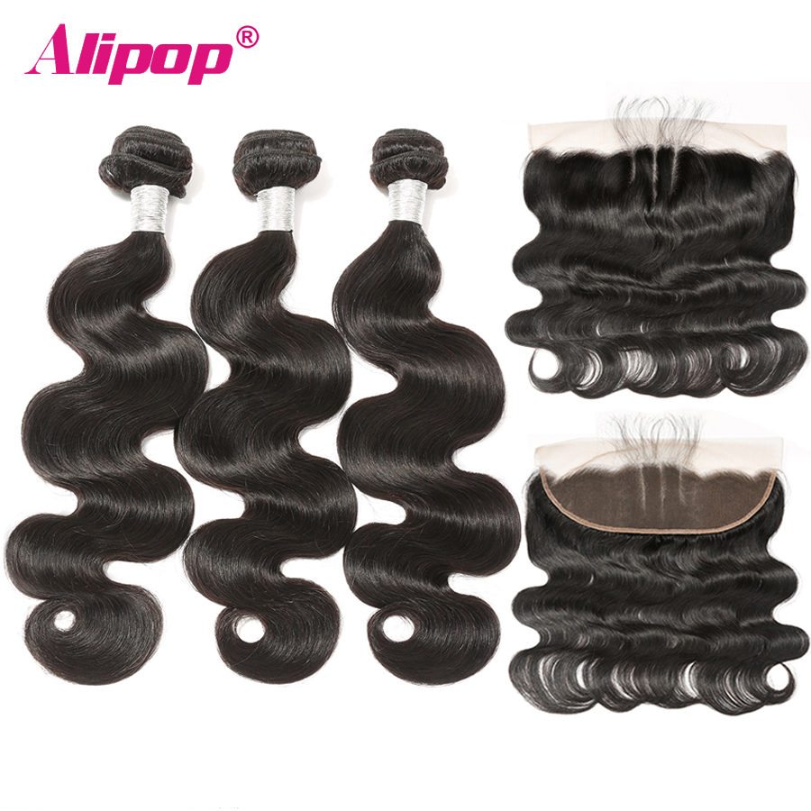 Body Wave Bundles With Closure Brazilian Human Hair 3 Bundles With Frontal 13 4 Ear to