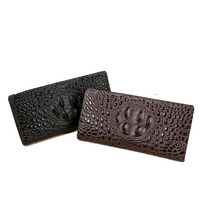 Casual leather wallet new 2017 leather crocodile pattern men's business card holder leather large capacity handbag long section