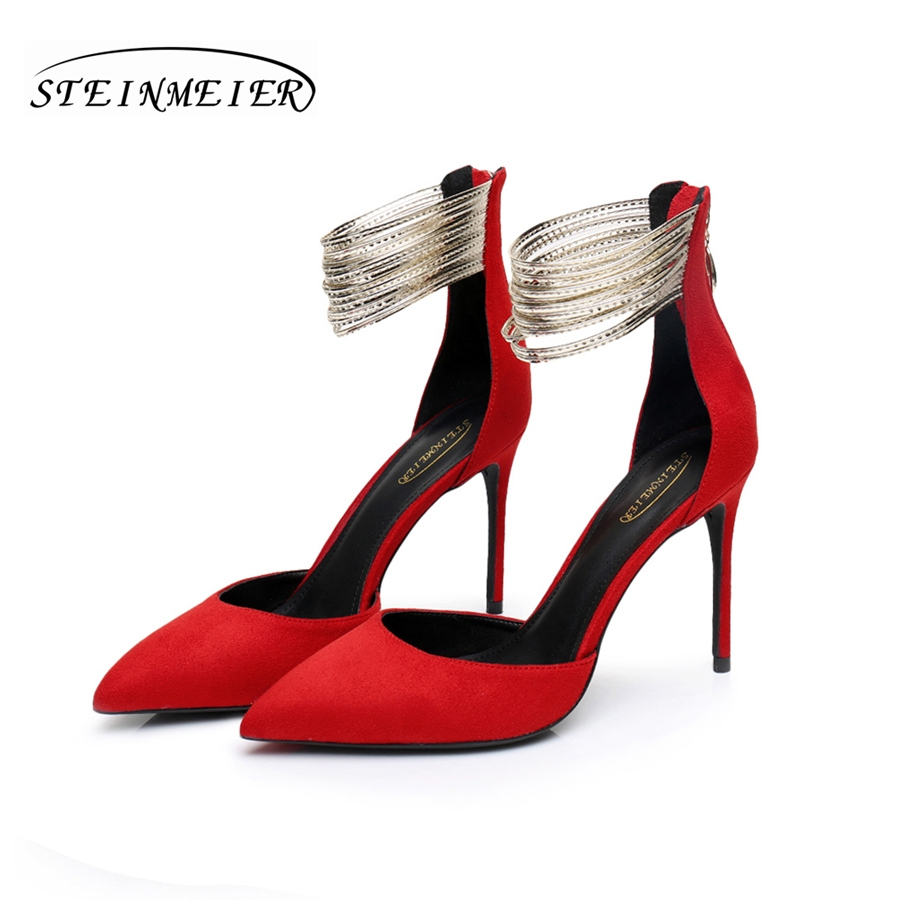 Sales clearance! Women summer sexy high heels sandals point toe 10cm thin heel suede lady party pumps shoes steinmeier