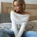 Russian Women New Sexy Knitted Strapless off the Shoulder Shirt T-shirt