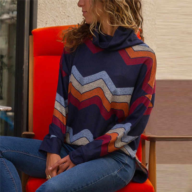 A collo alto stampa Astratta Donna Camicette 2019 Primavera Estate Casual Femminile Top Maniche Lunghe Donne Camicette Abbigliamento Donna