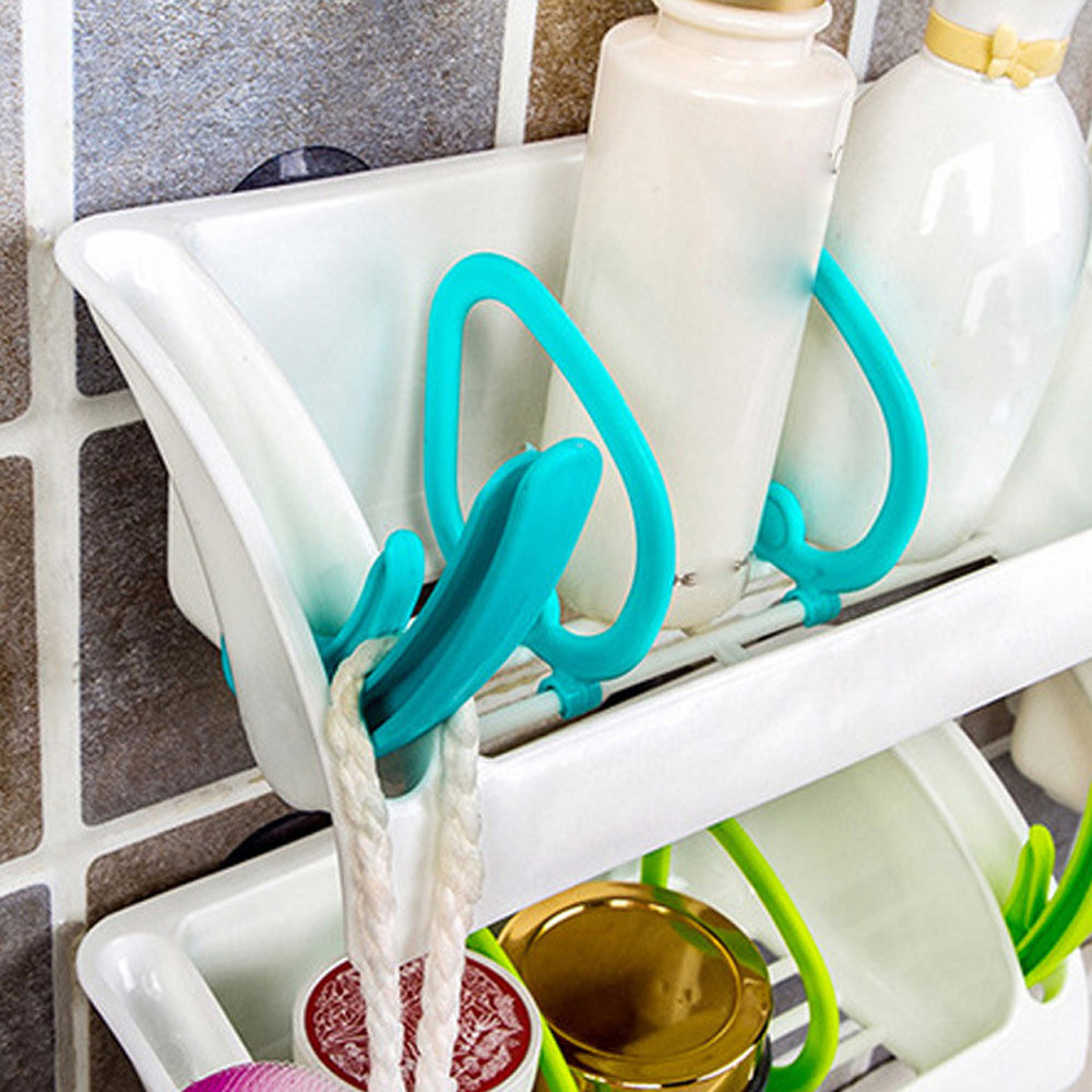Home Bathroom Plastic Shower Storage Rack Shampoo Holder Shelf Wall ...