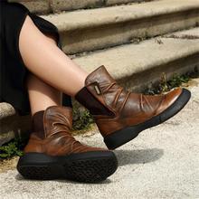 ฤดูใบไม้ร่วงและฤดูหนาวรองเท้าหนังแท้รองเท้าส้นแบนแพลตฟอร์มรองเท้าผู้หญิงสบายสบายรองเท้าข้อเท้า