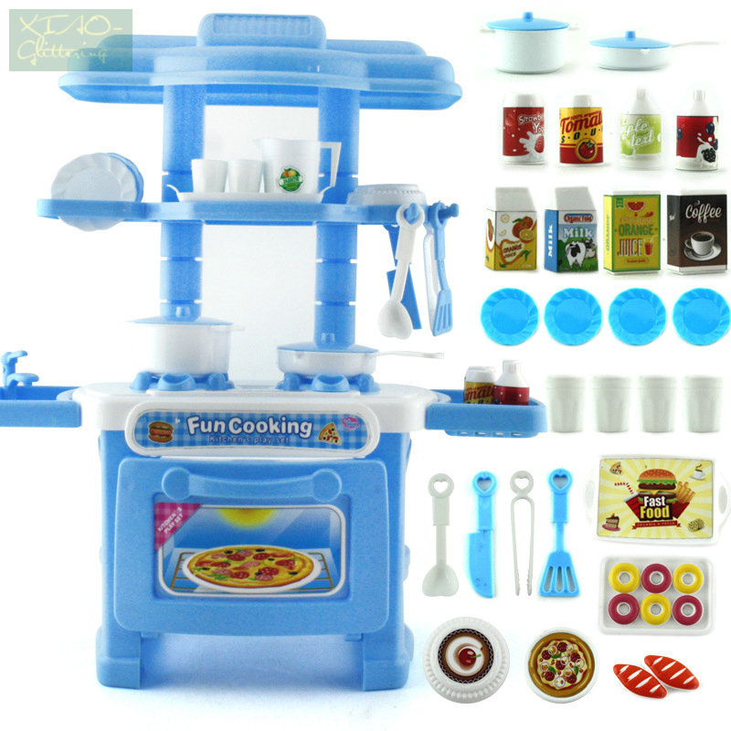 Kids Kitchen Toys Cooking Toy Play for Children Toys Pretend Play With Light Sound Effect Funny Play House Miniature 32pcs/ set