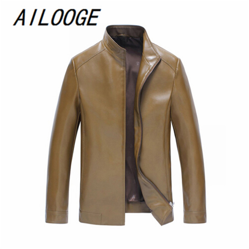 AILOOGE 2017 Mens Leather Jackets And Coats Overcoat Casual Mens Faux Leather Jacket Biker Style Men Leather Coat Clothing