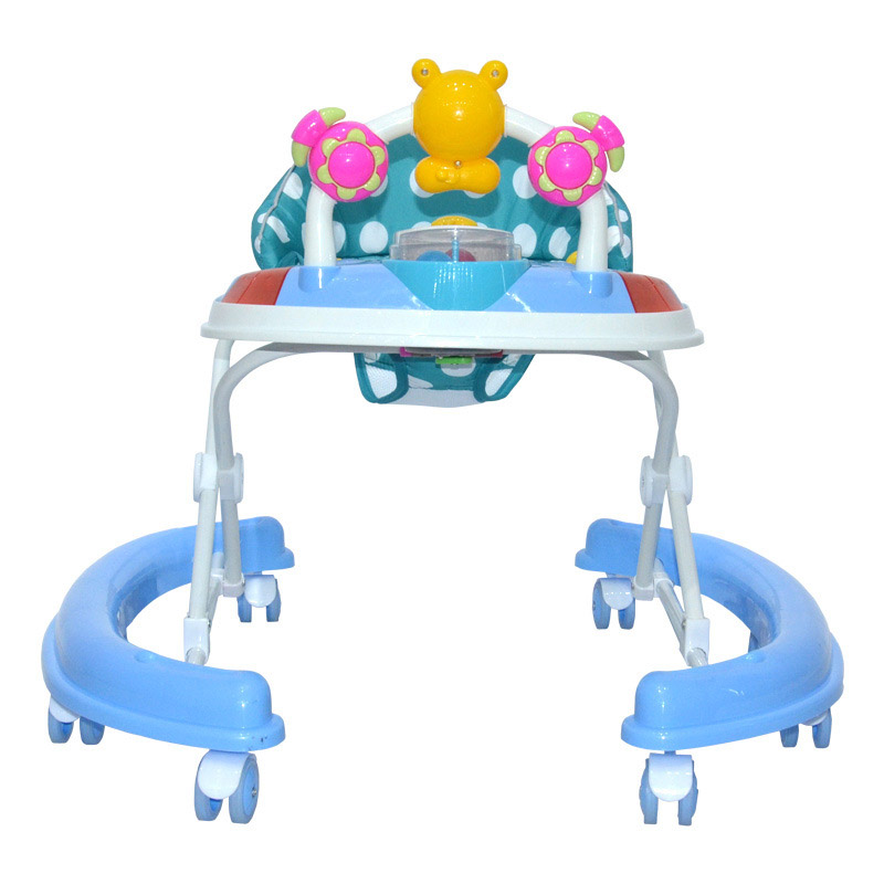 Baby Walker Foldable Toddler Walker Toy Safety Seat Baby Walker with Wheels Music Activity Toy Play Tray Adjustable Walking Aid original fisher price multi function baby walker lion car children activity musical baby walker with wheels adjustable car