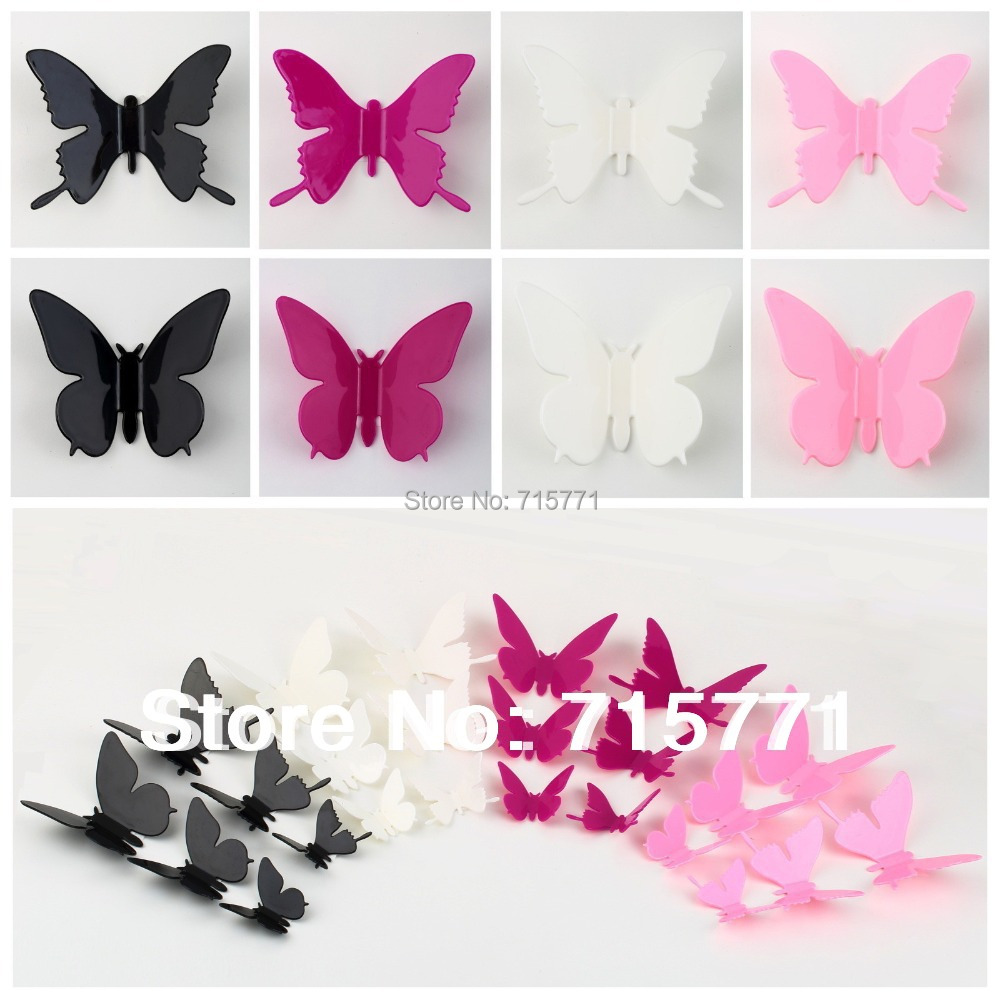 60 pcs hotsale fashion 3d butterfly wall decor home decor for 3d wall butterfly decoration
