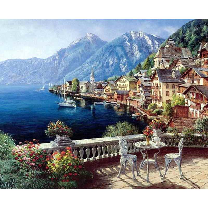 Landscape Framed Pictures DIY Painting By Numbers Wall Art Acrylic Painting On Canvas Drop Shipping For Wedding Decor GX4790