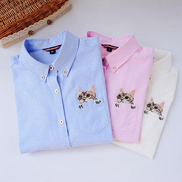 Вышивка Печати Кошка на Кармане Рубашки Леди 2016 Весной Новый мода Белый Синий Розовый Повседневная Блузка Рубашки Женщины С Длинным Рукавом топы