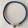 Blue leather bracelets for women jewelry without charm fit brand beads charms with 925 sterling silver clasp Fine Jewelry PL005
