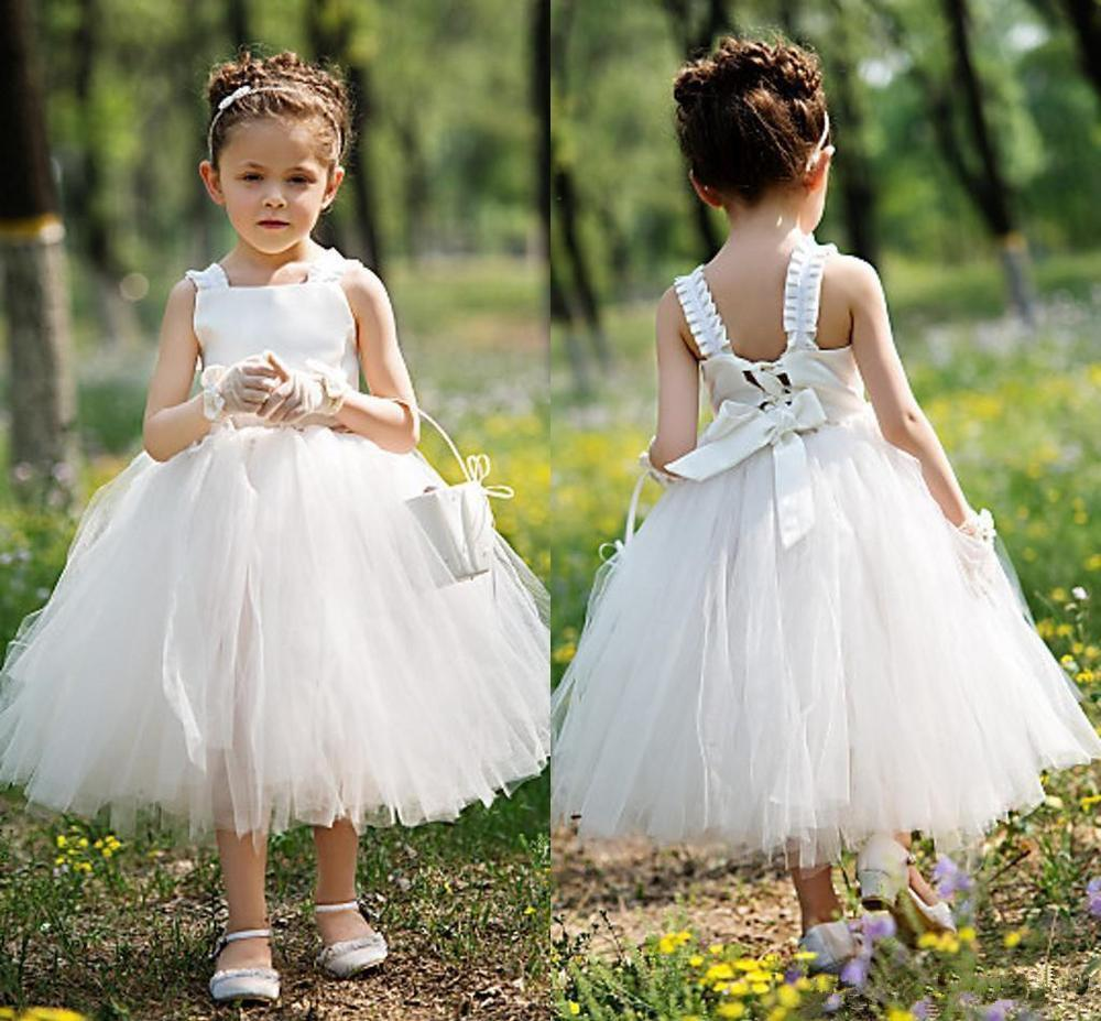 2017 Garden Tea Length Ball Gown Baby Flower Girl Dresses Cute Tulle
