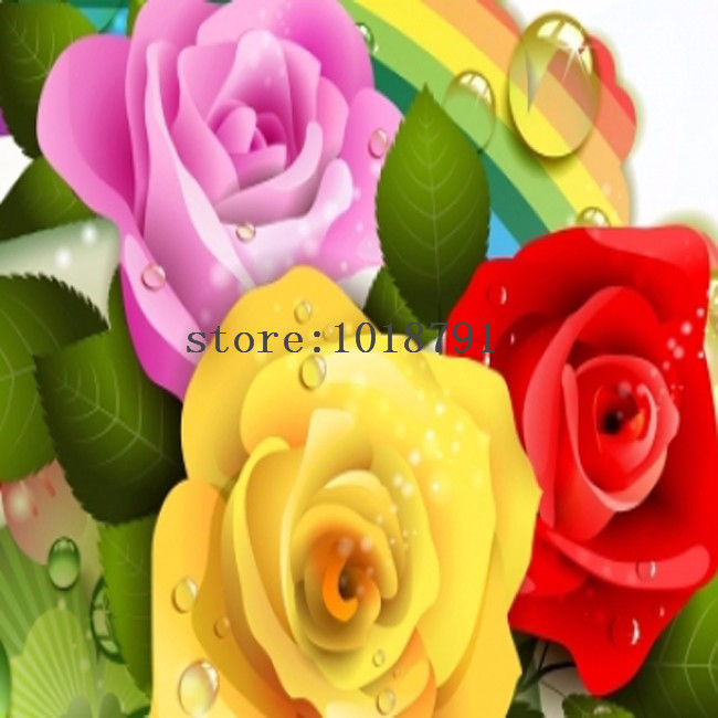 Ruxin Store Diy 3d Diamonds Painting Cross Stitch 3 color roses Diamond Embroidery Flower Wall Decoration Home Decoration Diamond Mosaic