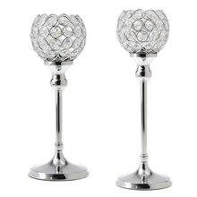 2 Stuks Prachtige Metalen Votive Theelichtje Kristallen Kandelaar Bruiloft Decoratieve Middelpunt 35Cm + 30Cm Zilver