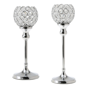 Image 1 - 2Pcs Stunning Metal Votive Tealight Crystal Candle Holder Wedding Decorative Centerpiece 35cm + 30cm Silver