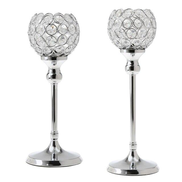 2Pcs Stunning Metal Votive Tealight Crystal Candle Holder Wedding Decorative Centerpiece 35cm + 30cm Silver