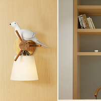Nordic Restaurant Hanging Light Japanese Modern Bird Wall Lamp Living Room Wood led Wall Light For Home Bedroom led Wall Sconce