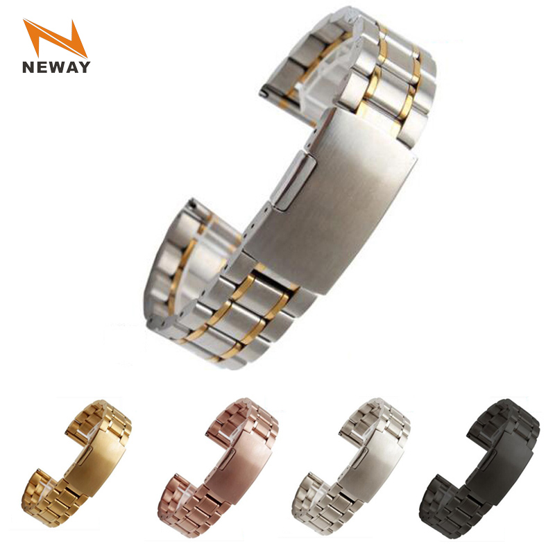 Neway Stainless Steel Watch band Silver Black Rose Gold Watch Strap Bracelet Men Women Watchband 14 16 18 20 22 24mm Relojes neway 12mm ceramic c 316l stainless steel watchband convex interface women watch strap small wristwatches band belt bracele