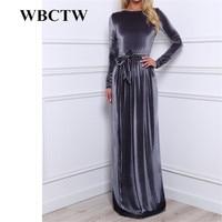 WBCTW Women Dress Velvet Long Sleeve 2018 Autumn Winter Maxi Pleated Fashion Long Warm Bandage Elegant Dress XXS 7XL Custom Made