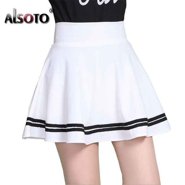 ALSOTO Fashion Summer Style Women Skirt Solid Color Sexy High Waist Pleated Skirt black Korean Version