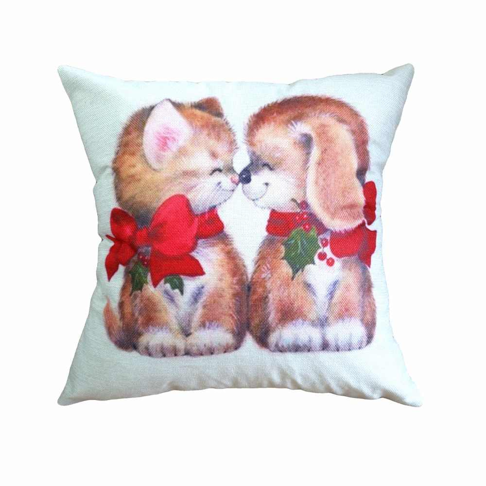 คุณภาพสูงผ้าฝ้ายหมอนสุนัขคริสต์มาสการพิมพ์การย้อมสีเตียงตกแต่งบ้าน Cushion Cover Christmas Decor Pillowscases