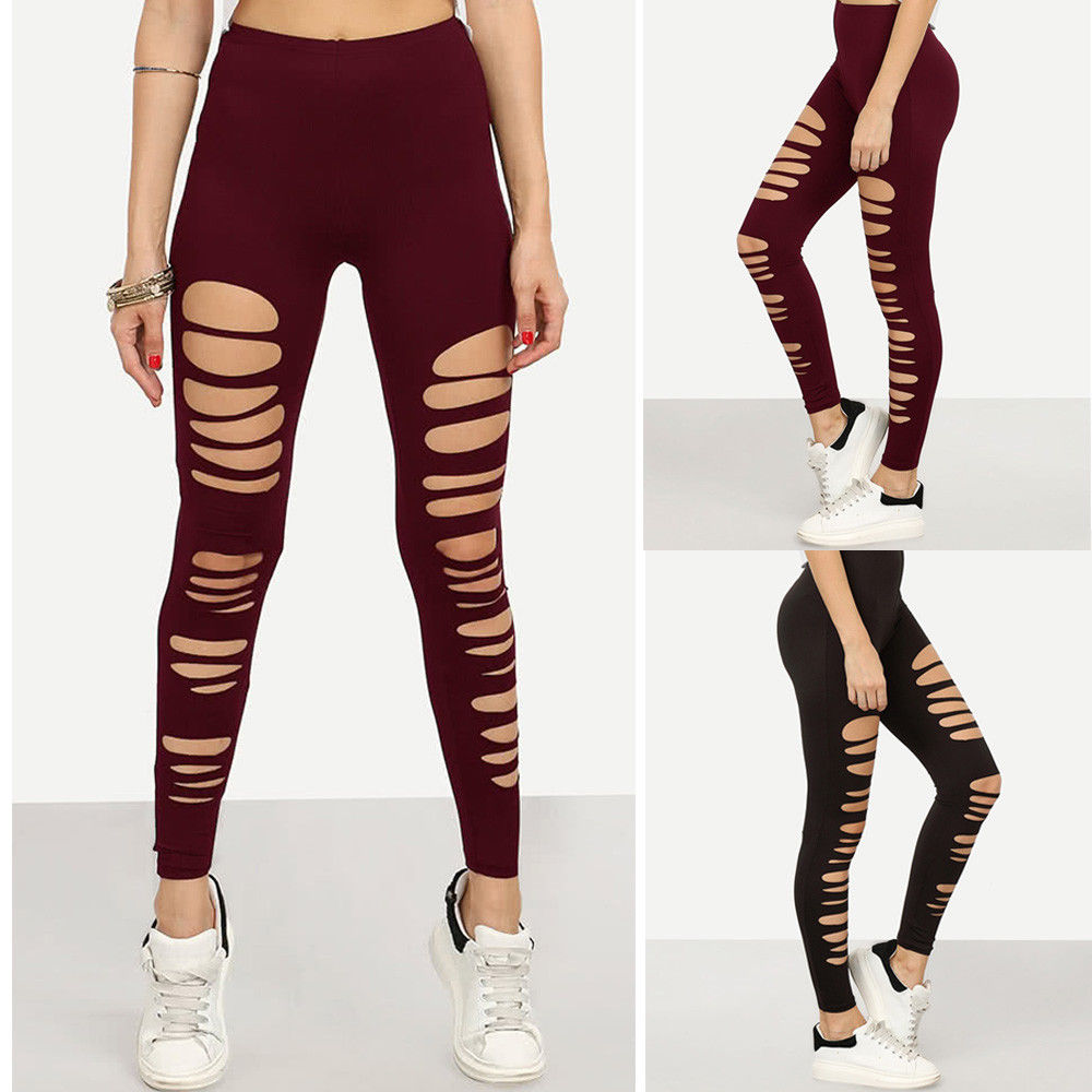 2018 Fashion Women Ladies Skinny Ripped Holes Leggings Pants High Waist Stretch Slim Pencil LeggingsTrousers