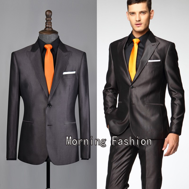 Free shipping 2015 New Coffee Suit Dark Brown Suit Shiny Silk ...