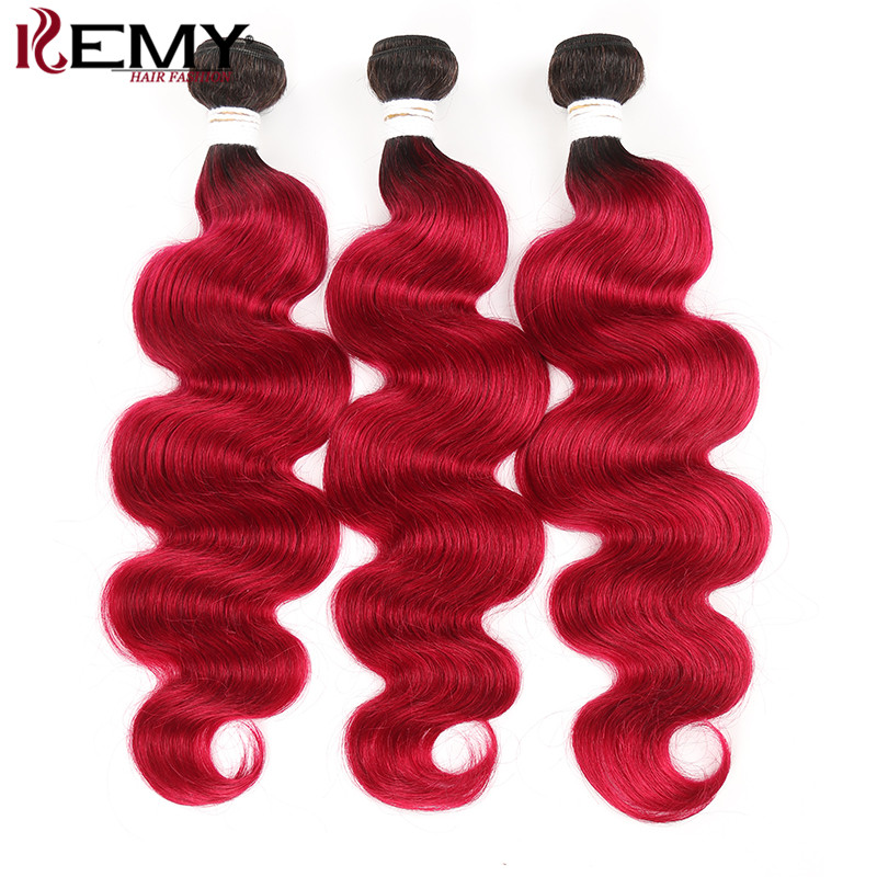 T1B/Burg Two Tone 3 Bundles Body Wave 100% Human Hair Extension KEMY HAIR Brazilian Pre-Colored Non Remy Hair Weave Bundles