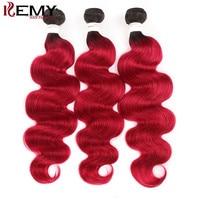T1B/Burg Two Tone 3 Bundles Body Wave 100% Human Hair Weaving KEMY HAIR Brazilian Non Remy Hair Weave Bundles