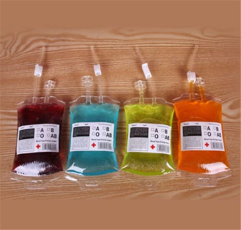 1pc Clear Food Grade PVC Material Reusable Blood Energy Drink Bag Halloween Pouch Props Vampire