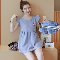 3622 Fashion Blue Small Plaid Cotton Nursing Blouse For Maternity Mother 2016 Summer Sweet Elegant Breastfeeding