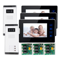 "FREE SHIPPING New 7"" Video Door Phone Intercom With 3 Monitors + 2 Waterproof Doorbell Camera for 2 Household Apartment Family"