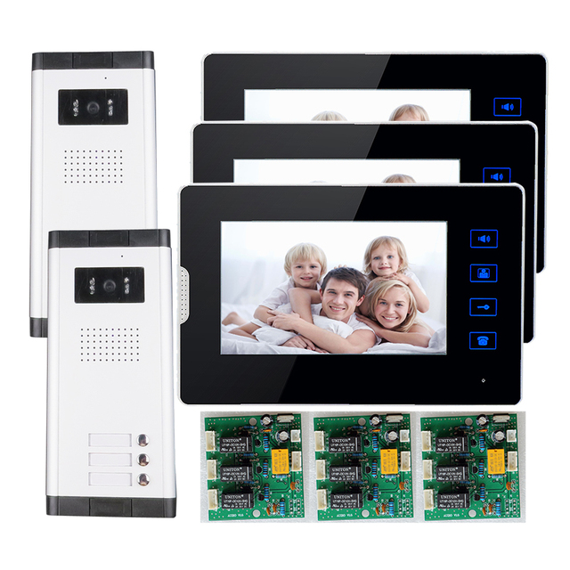 """FREE SHIPPING New 7"""" Video Door Phone Intercom With 3 Monitors + 2 Waterproof Doorbell Camera for 2 Household Apartment Family"""