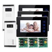 """ENVÍO de la Nueva 7 """"Video de La Puerta de Intercomunicación Teléfono Con 3 Monitores + 2 Cámara A Prueba de agua para 2 Apartamento Del Hogar Familiar"""