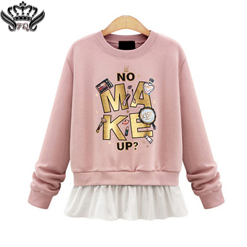 2016 New autumn winter Women hoodies Clothes Sportswear hip hop Cute Pink Letters Print Pullover Sweatshirt Plus Size 2XL
