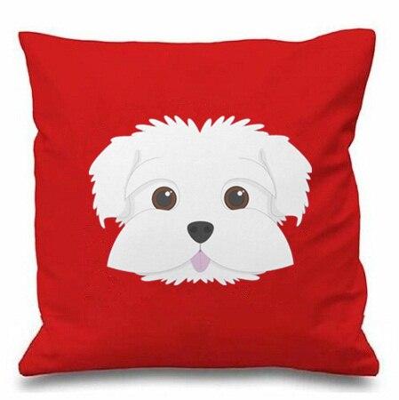 """Cute Female Maltese Dog Face Print Cotton 18"""" X 18"""" Cushion Cover Pillow Sofa"""