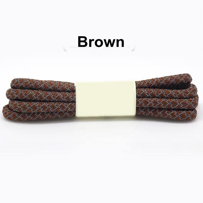 1 пара 100/120/140/160 см флуоресцентные кроссовки шнурков спортивные шнурки 3 м отражающий круглый обувь на шнуровке кружева светлые шнурки - Цвет: Brown