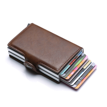 Wholesale Card Holder Double Box Id Holders RFID Blocking Aluminium Pu Leather Credit Case Mini Wallet