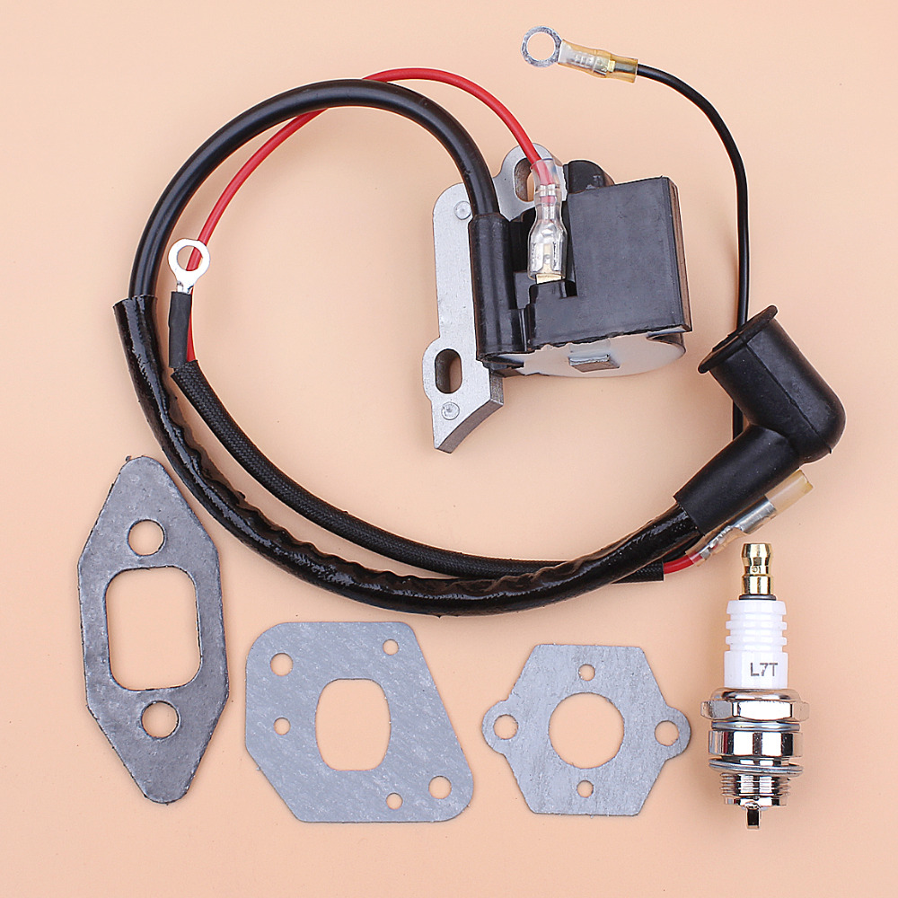 Купить с кэшбэком Ignition Coil Magneto Carburetor Intake Gaskets for Partner 350 351 370 371 390 420 440 Gasoline Chainsaw Spares Parts