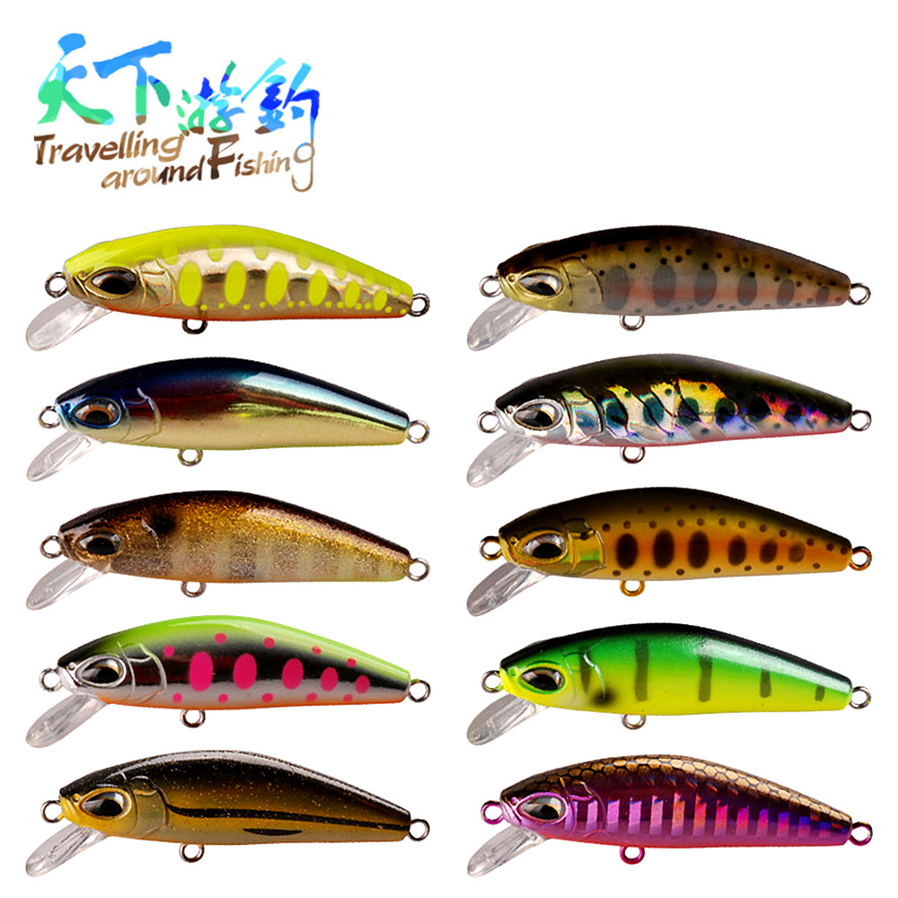TAF Hot Selling Small Minnow Lure 5cm 6.1g Assorted Colors Hard Bait with France VMC Hook Flexible Swimming Crankbait Wobblers