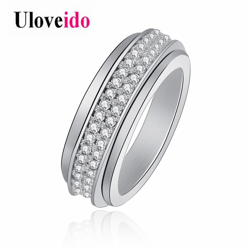 Uloveido 2 Rows Cubic Zirconia Wide Wedding Ring Bands for Mens Womens Silver Tone Rotatable Spinner Rings Fashion Jewelry Y340 titanium ring