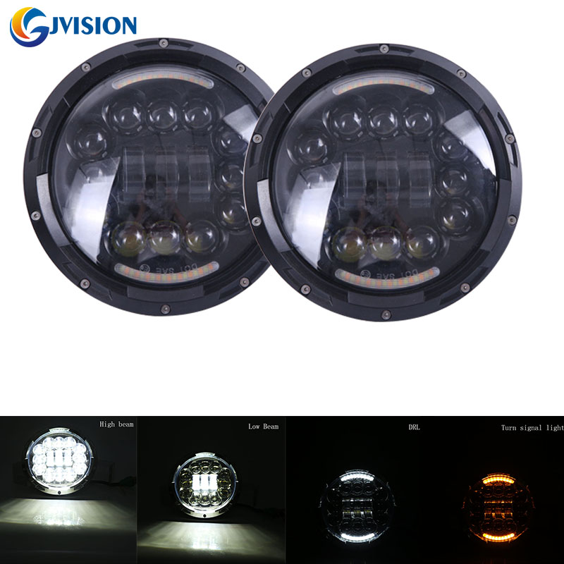 Black/Silver 7'' 90W LED Headlights Bulb Halo DRL Turn signal for Jeep Wrangler JK CJ LJ Hummer LED Headlamp Projector lamps plus size lace up fit and flare dress