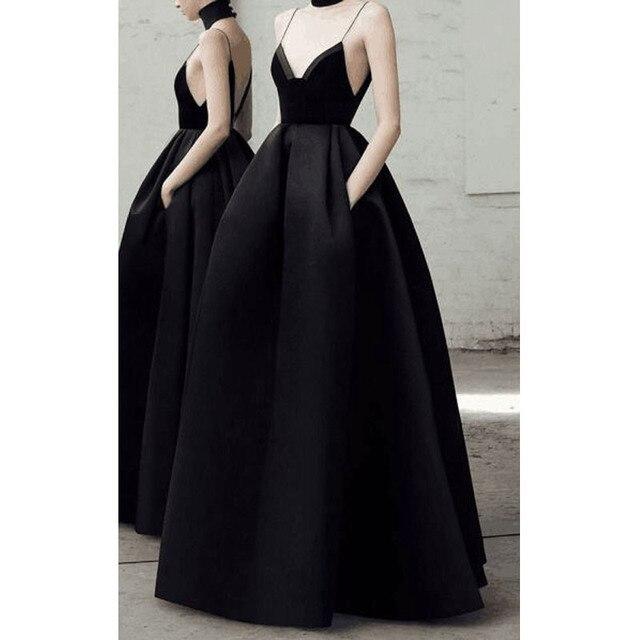 Leeymon Custom Made Black Sexy V Neck Velvet Evening Dresses Backless Elegant Evening Gowns 2019 longo vestido de festa Prom