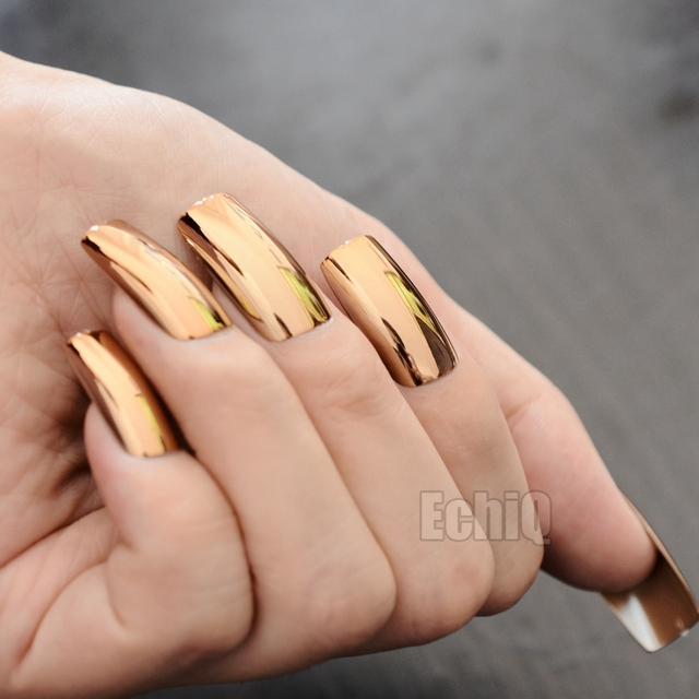 20pcskit Shinning Champagne Metallic False Nails Extra Long Mirror