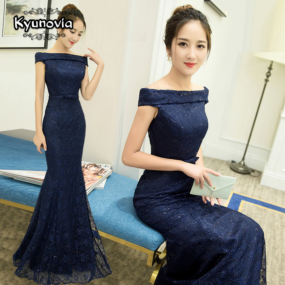 Mermaid Floor Length Prom Dresses Lace Up Long Prom Dress Special occasions Blue Sequined Dresses Boat