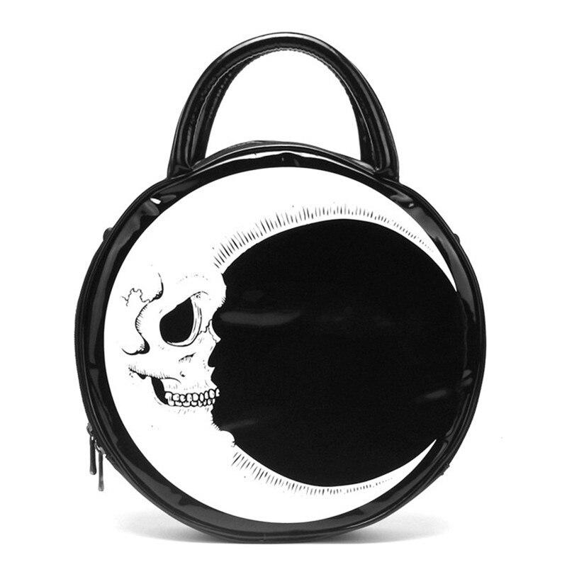 Mulher senhora menina punk crânio escuro cabeça trovão flash impresso corpo cruz gótico lua mensageiro saco redondo bolsa harajuku presente